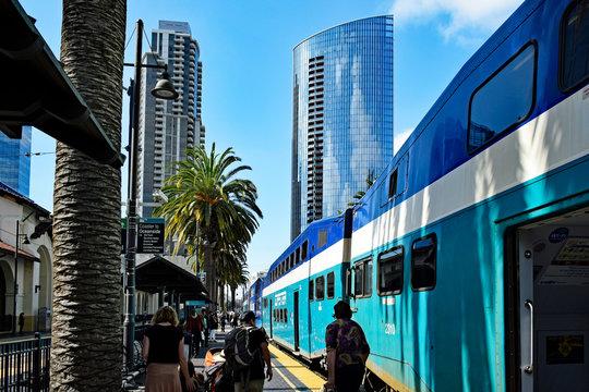Amtrak Coaster, at Santa Fe station, San Diego, California, USA