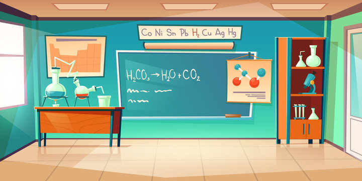 Chemistry cabinet, empty classroom laboratory interior with chemical formula on blackboard, beakers for experiments on desk, furniture and school supplies. Educational room cartoon vector illustration