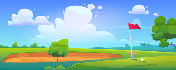 Foto auf Leinwand Pool Golf course on nature landscape with ball lying on green grass near pole flag, sand bunker and trees around under blue cloudy sky. Tranquil recreational place background. Cartoon vector illustration