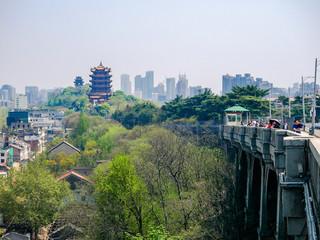 Fototapeta HUBEI,CHINA 5 april2019 - people visit Yellow crane pavillion(Huanghelou),locatedin Wuhan city