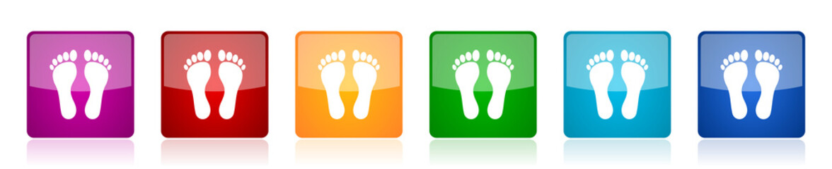 Foot icon set, colorful square glossy vector illustrations in 6 options for web design and mobile applications