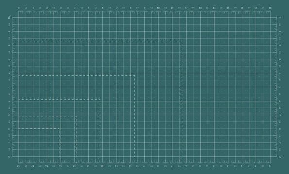 Self healing cutting mat. Cut board with an imperial measuring grid