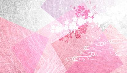 Wall Mural - ピンクの和紙を背景にした桜
