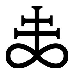 Leviathan cross, the alchemical symbol of sulfur or satanism flat vector icon for games and websites