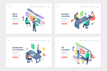Staff search and placement isometric landing page templates set