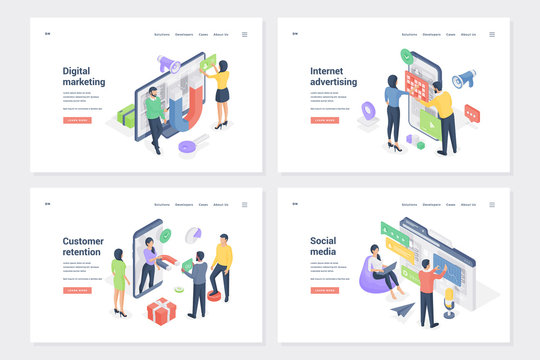 Business promotion isometric landing page templates set