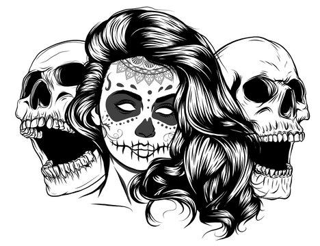 A single color vector illustration of a beautiful woman with a screaming skull