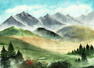 Watercolor illustration of the green valley with some furs and with distant hills and mountains