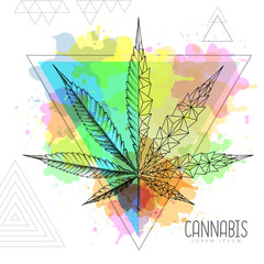Realistic hand drawing and geometric cannabis leaf silhouette on artistic watercolor triangle background. Vector illustration