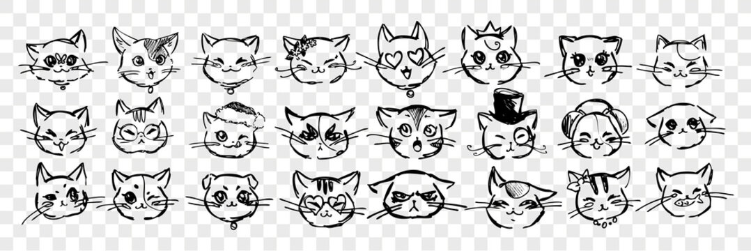 Hand drawn cats emotions and facial expressions set