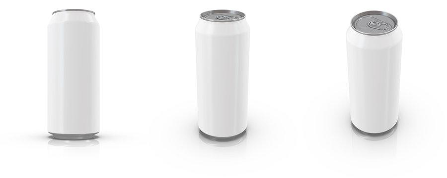 16 oz / 450 ml Realistic Aluminium Can Mockup. 3d rendering