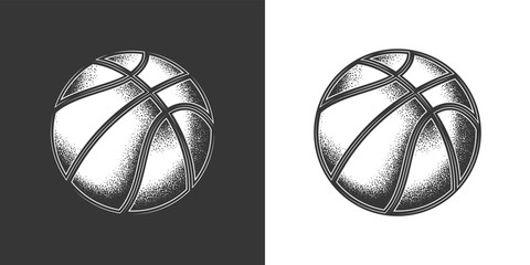 Original monochrome vector illustration. Basketball ball in vintage style.