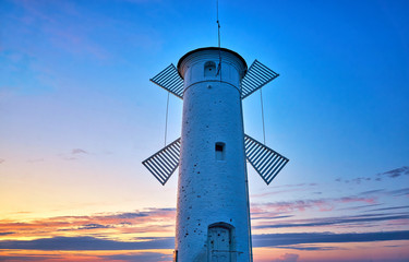 Lighthouse with blue sky on the Baltic Sea in Swinemünde. Swinoujscie, Poland