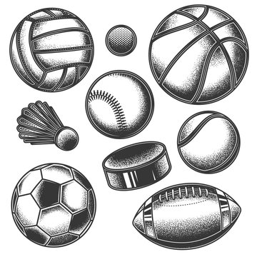 Original monochrome sports vector set. Baseball, Volleyball, Hockey, Badminton, Basketball, American football, Soccer, Tennis.