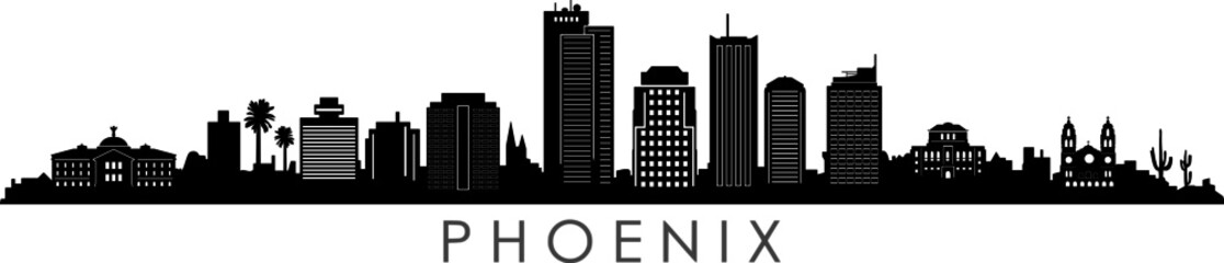 Fototapete - Phoenix City Arizona Skyline Silhouette Cityscape Vector