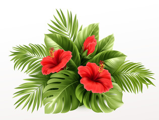 Exotic Tropical hibiscus flowers and monstera leaves, palm leaves of tropical plants isolated on white background. Vector illustration