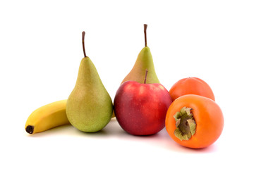 Fruits isolated on white background. Red apple, banana, kaki fruits and pears.