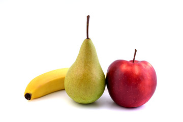 Fruits isolated on white background. Red apple, bannana  and pears.