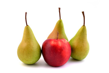 Fruits isolated on white background. Red apple and pears.