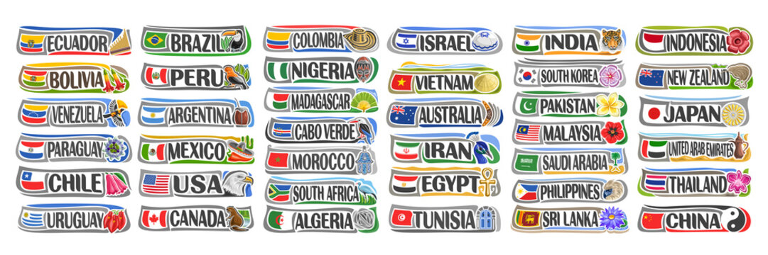 Vector set of American and Asian Countries with flags and symbols, 38 isolated horizontal labels with national state flags and brush font for different words, decorative stickers for independence day.