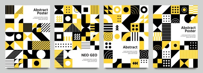 Neo geometric posters. Modern grid pattern with geometrical shapes. Abstract yellow, white and black backgrounds vector set. Geometric brochure yellow and white, geo pattern bright illustration