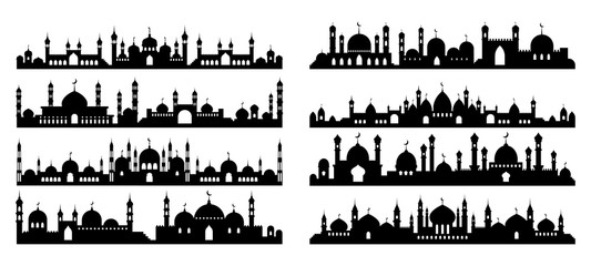 Arabic architecture silhouette. Mosque roof, islamic cityscape panorama and minaret skyline silhouettes. vector illustration set. Architecture silhouette, arabic mosque, islam minaret