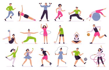 People performing sports activities. Vector illustration set. Character activity training, fitness and action, performing together
