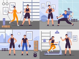Gym coach. Vector illustration set people training. Gym coach, fitness training workout and exercise, trainer and athlete - fototapety na wymiar