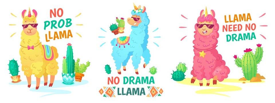Llama poster. No drama llama and no prob llama vector illustration set. Alpaca character, lama no drama, funny and happy colored animal