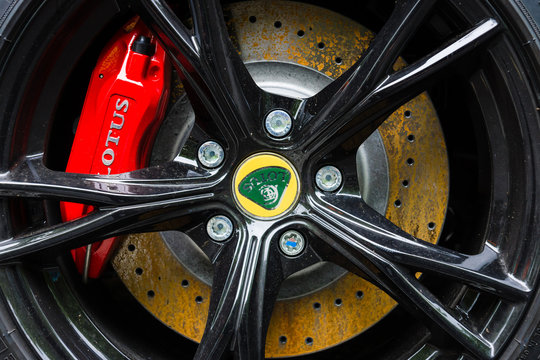 BERLIN - JUNE 14, 2015: The front brake disc of the sports car Lotus Exige S Coupe. The Classic Days on Kurfuerstendamm.