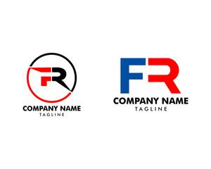 Set of Initial Letter FR Logo Template Design