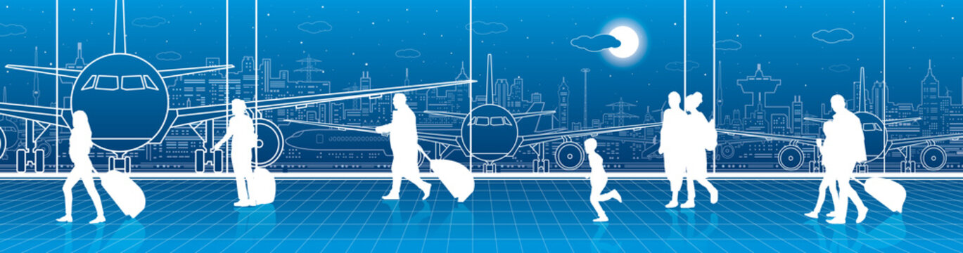 Airport terminal, aircraft on runway, airplane takeoff, aviation scene, people expect flight, transportation infrastructure on background, vector design art