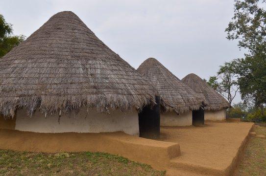 Bhopal, Madhya Pradesh/india : January 15, 2020 - Tribal Huts at Manav Sangrahalaya, Bhopal