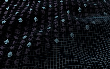 Ethereum crystal and currency on a dark background. Digital crypto currency symbol. Business concept. Market Display. 3D illustration