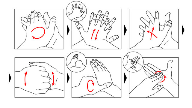 Educational infographic: how to wash your hands properly step by step. Personal hygiene, disease prevention and healthcare. Prevention against Virus, Coronavirus and Infection. Illustration for banner