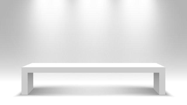 White table. Stand. Pedestal. Vector illustration.
