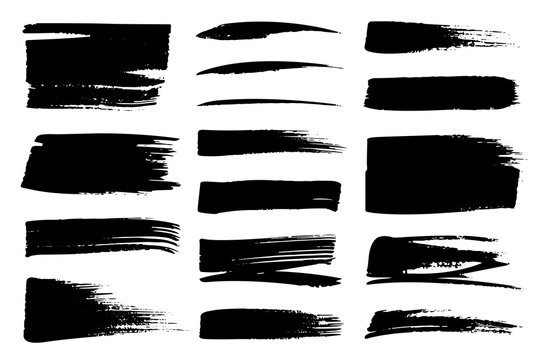 Collection set of hand drawn underline and strokes in marker brush doodle style. Grunge brushes. Black and white background.