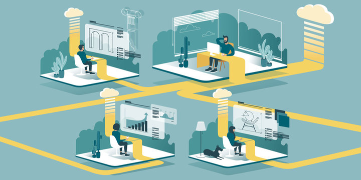 Technical vector Illustration explaining how cloud computing enhancing our ability to learn and work anywhere. Isometric layout explaining the principle of teleworking at home through the cloud.