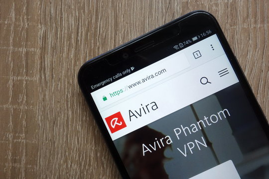 KONSKIE, POLAND - JULY 14, 2018: Avira website displayed on a modern smartphone