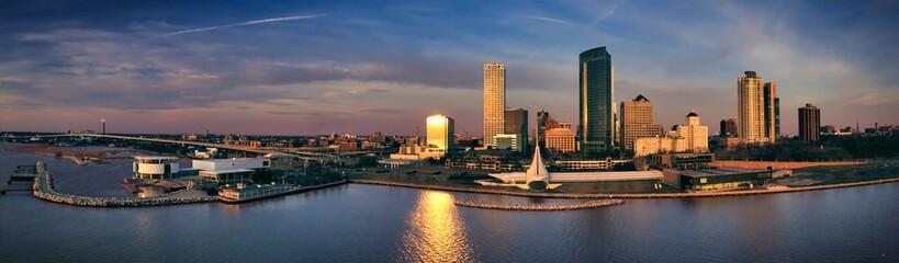 Milwaukee lakefront skyline at sunrise