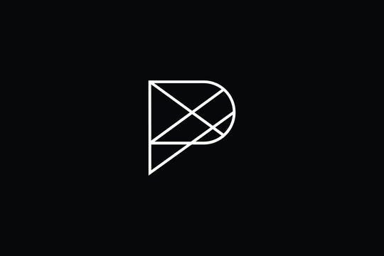 Minimal elegant monogram art logo. Outstanding professional trendy awesome artistic P PX XP initial based Alphabet icon logo. Premium Business logo in White color on black background
