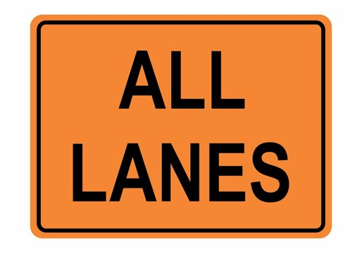 All Lanes Road sign
