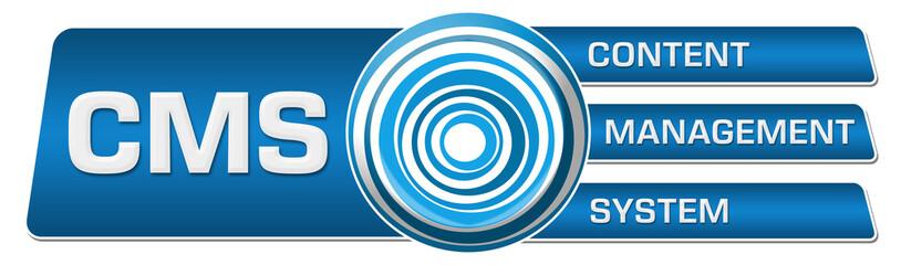 CMS - Content Management System Blue Circular Boxes Horizontal