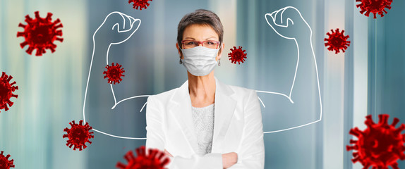 woman, doctor in medical face protection mask indoors on blue background