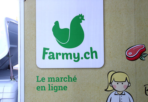 A logo of Farmy.ch, an online shop for home delivery of regional and organic products, is pictured on a van during the coronavirus disease (COVID-19) outbreak