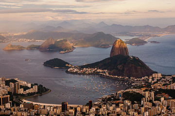 Fotorollo Rio de Janeiro Sunset view of mountain Sugar Loaf and Botafogo. Rio de Janeiro