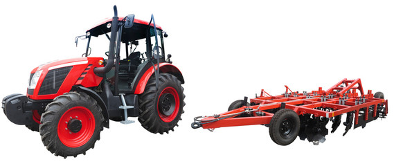 Abstract powerful new tractor with agricultural equipment isolated on white background Fotomurales