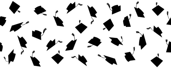 Foto auf AluDibond Künstlich Seamless pattern of throwing square academic caps with tassel, vector illustration.