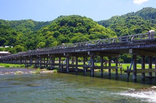 Togetsukyo Bridge in summer, Arashiyama in Kyoto, Japan 真夏の嵐山風景 京都