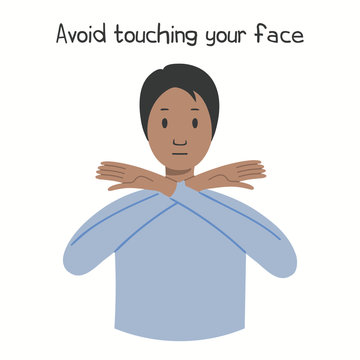Coronavirus epidemic concept. Woman holding hands in front of her face, text Avoid touching face, isolated. Vector illustration. Poster, flyer. Flat style design. Covid-19 protection, prevention.